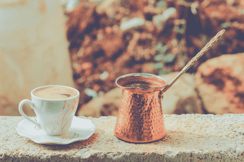 turkish coffee tools in the outdoors