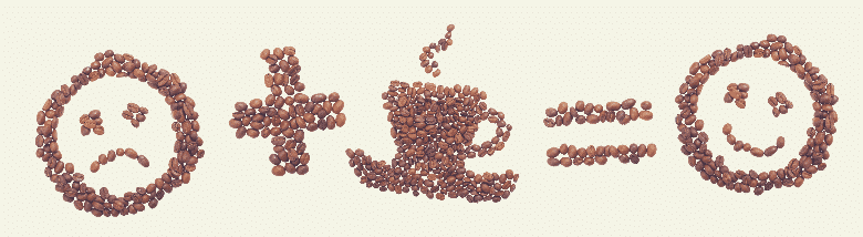 coffee beans on the surface featuring sad face + coffee = happy