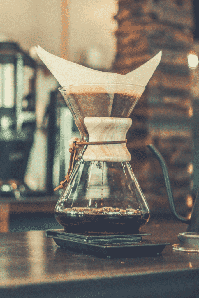 coffee dripping with chemex brewer