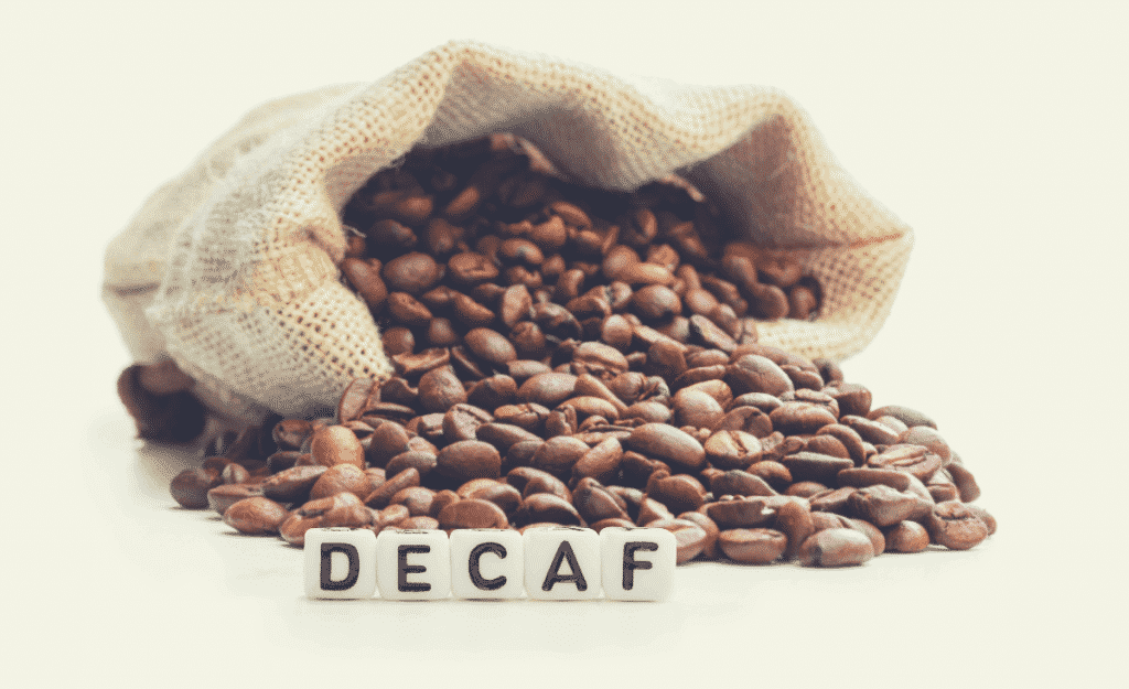 a bag of decaf coffee beans