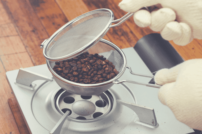 roasting a small batch of coffee beans over an empty stove, best home coffee roaster