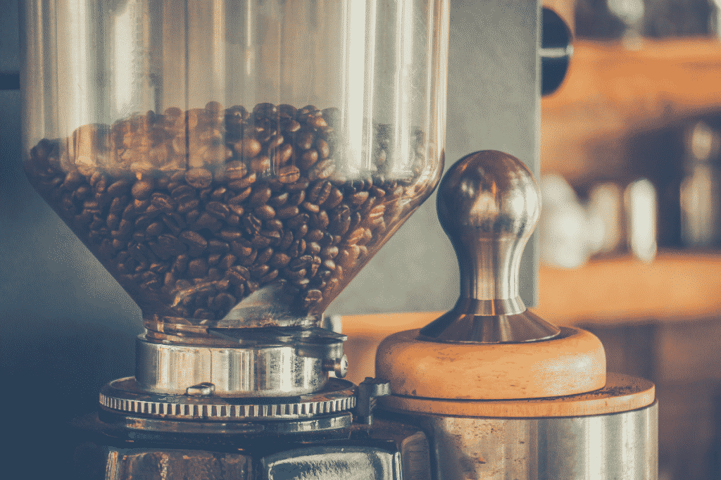 Coffee beans in a coffee grinder For coffee makers for customers