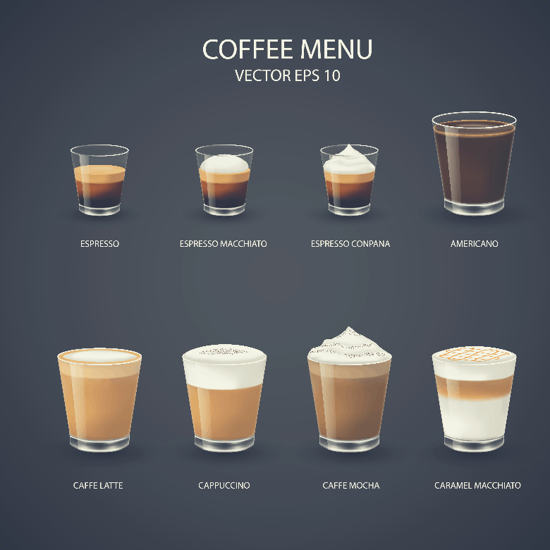 set of coffee cups, espresso glass, coffee latte, cappuccino, mocha, americano,caramel macchiato, latte vs cappuccino