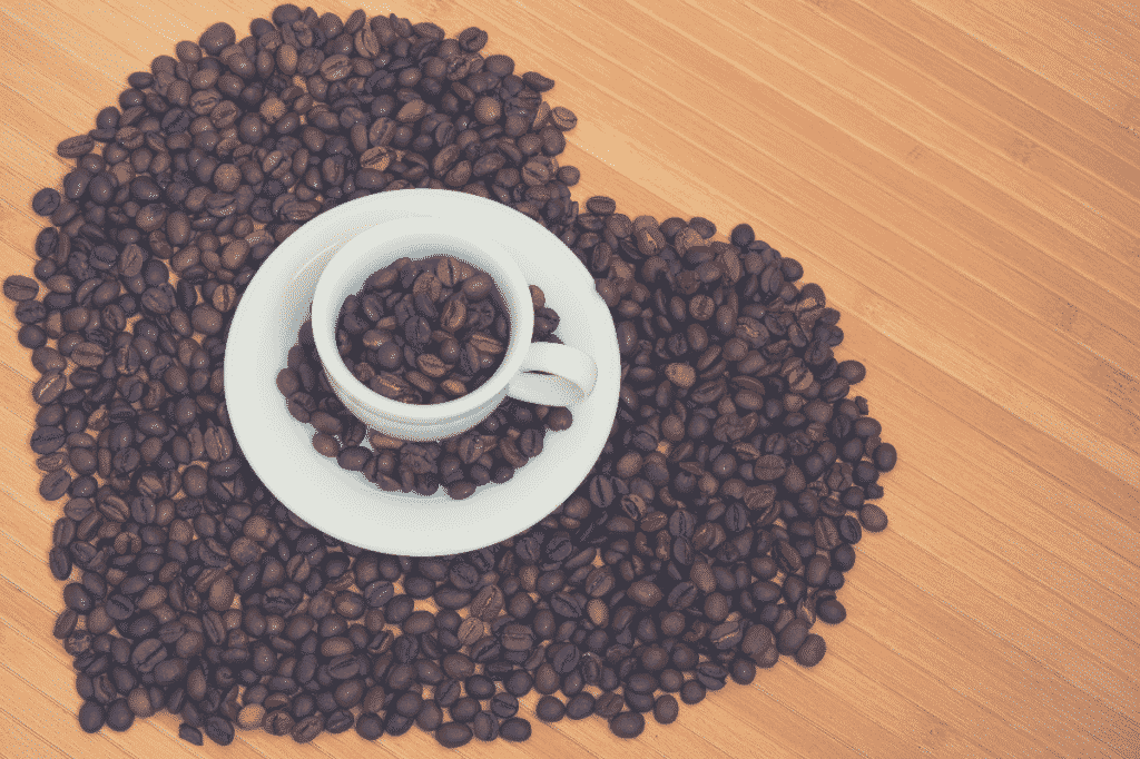 Heart shape made from coffee beans, lifeboost coffee review