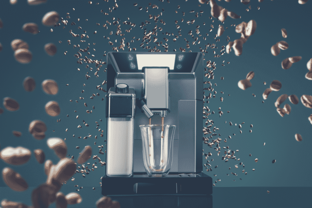 Coffee machine with flying coffee beans across it on dark background. Concept studio shooting. High speed freezing photo, best super automatic espresso machine under $1000