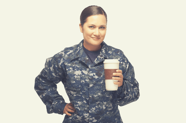 Female officer with disposable coffee cup, why is coffee called joe