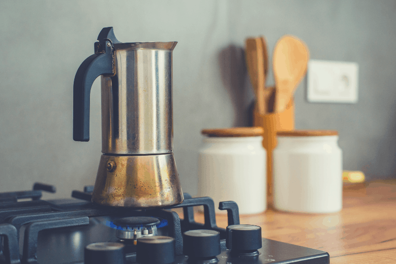 Preparing a traditional italian style coffee with coffee percolator. Making a coffee, how to brew coffee without a coffee maker