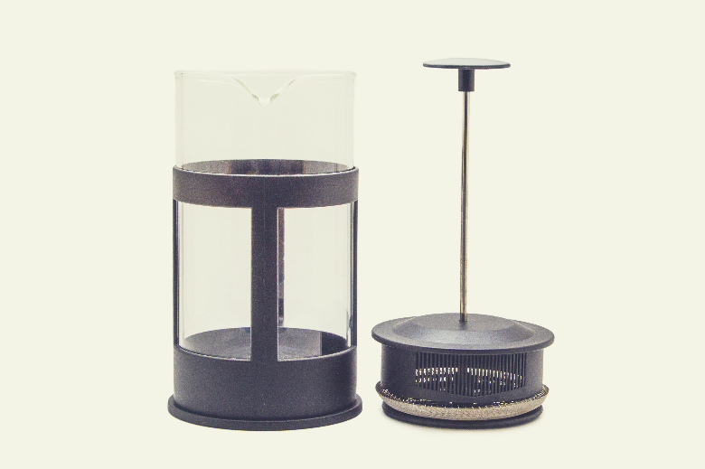 French press isolated on white, how to make sweet cream cold foam