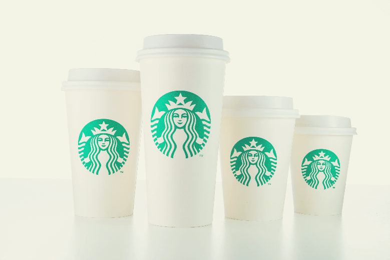 Starbucks white take home cups in various sizes, starbucks cup sizes